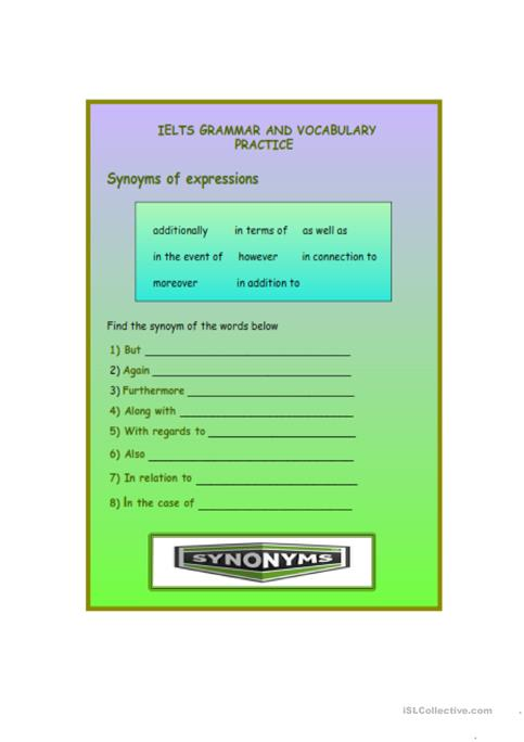 vocabulary practice worksheets