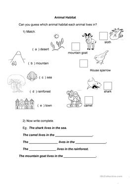 26 free esl habitat worksheets. Black Bedroom Furniture Sets. Home Design Ideas