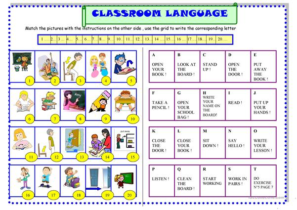 Classroom language for beginners