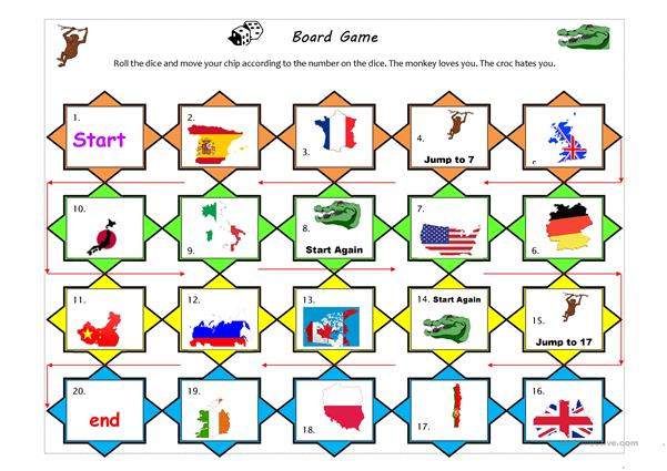 Countries and nationalities boardgame