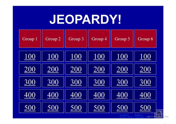 Global Warming Jeopardy Game