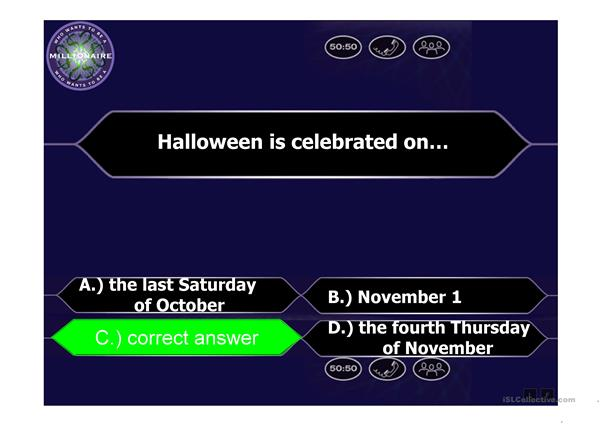 Halloween - Who Wants to Be a Millionaire Game