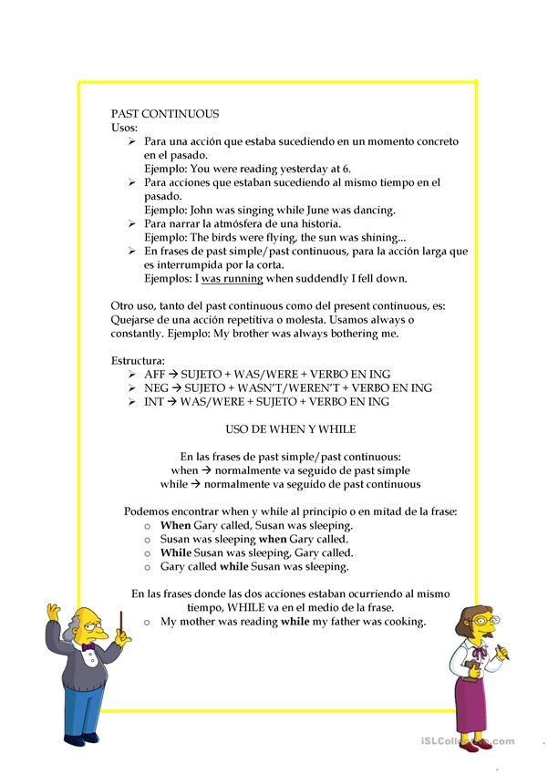 I Love Simpsons Pastsimple And Continuous English Esl