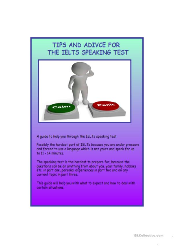 IELTS SPEAKING EXAM - ADVICE AND TIPS