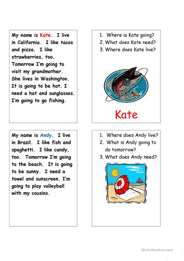 Let's Go 4, Unit 1, page 11, Speaking Cards