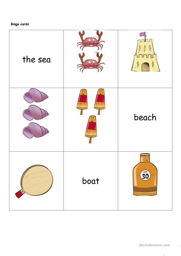 Spot the Difference Beach Scene & Bingo Cards
