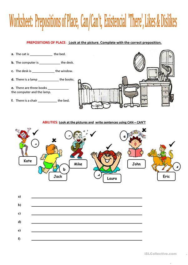 Worksheet: Prepositions of Place, Can/Can't, Existencial 'There', Likes & Dislikes