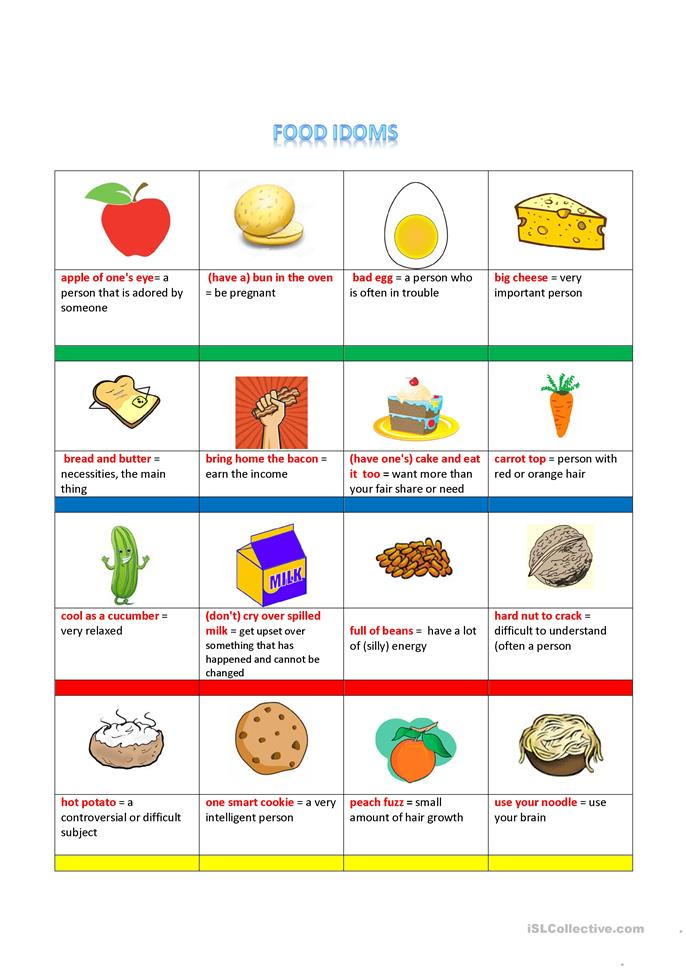 Worksheets Worksheet Idioms Food 21 free esl food idioms worksheets idioms