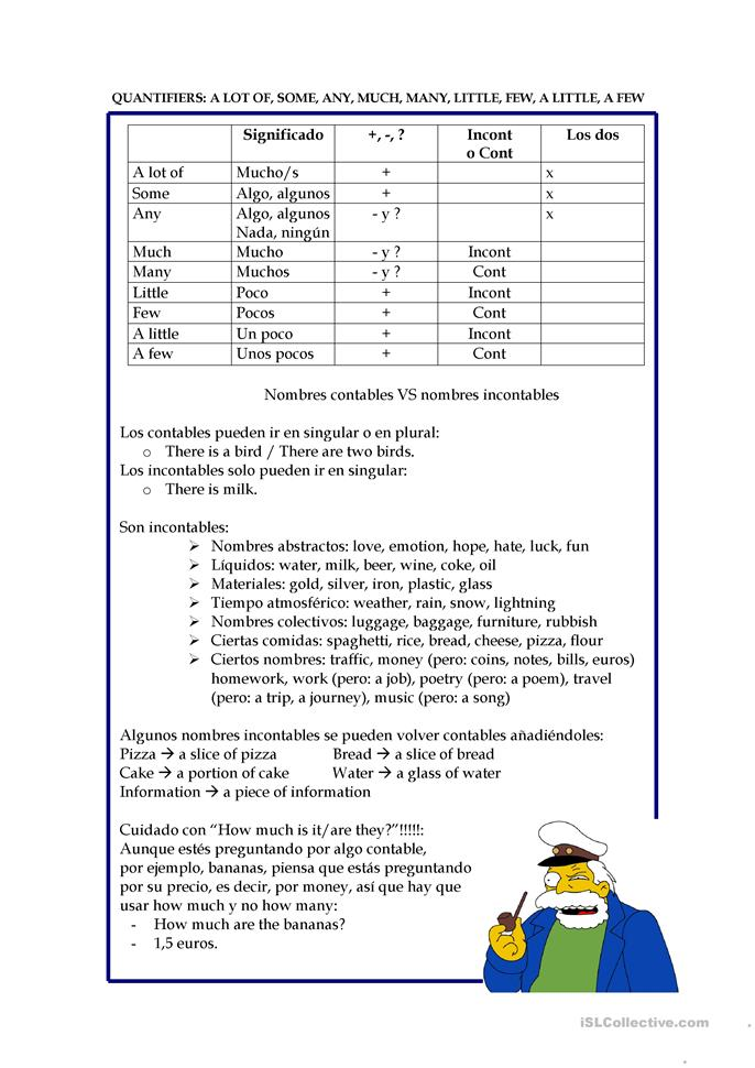I love Simpsons - Quantifiers: a lot of, some, any, much, many, lit... - ESL worksheets