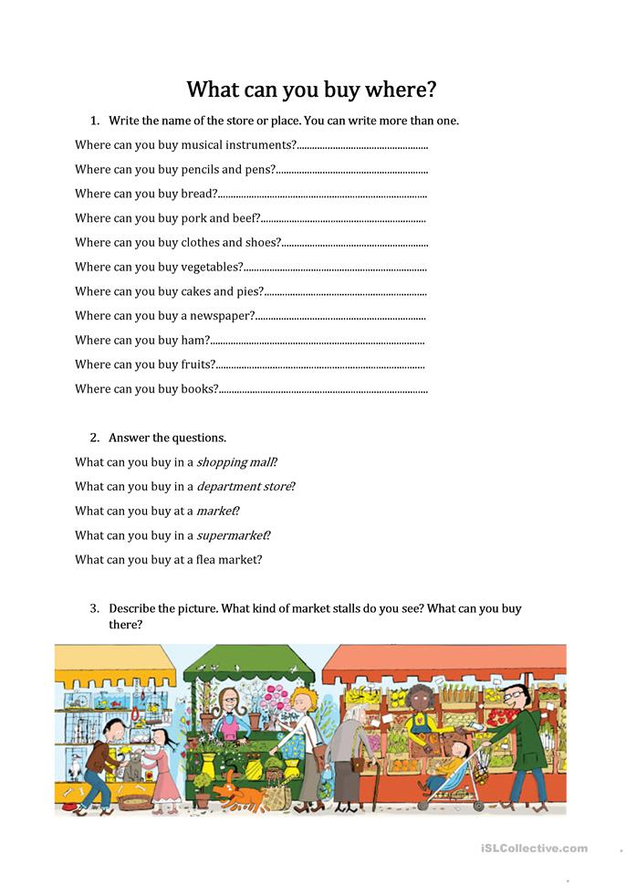What Can You Buy Where Worksheet