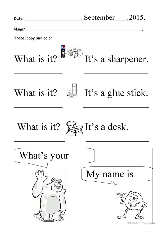 what is it what 39 s your name trace and copy worksheet free esl printable worksheets made by. Black Bedroom Furniture Sets. Home Design Ideas