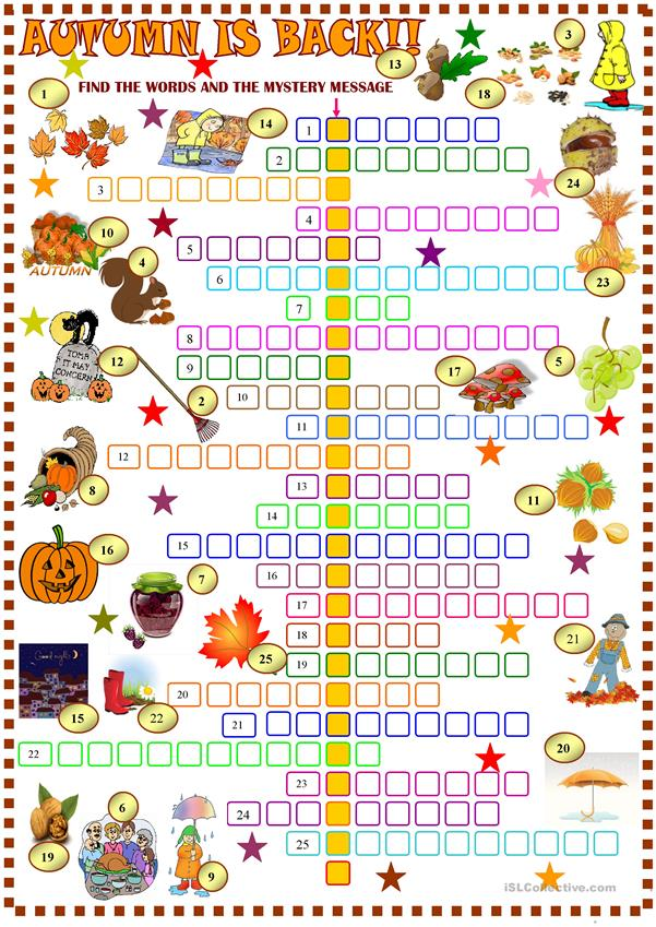 Lively image intended for fall crossword puzzle printable
