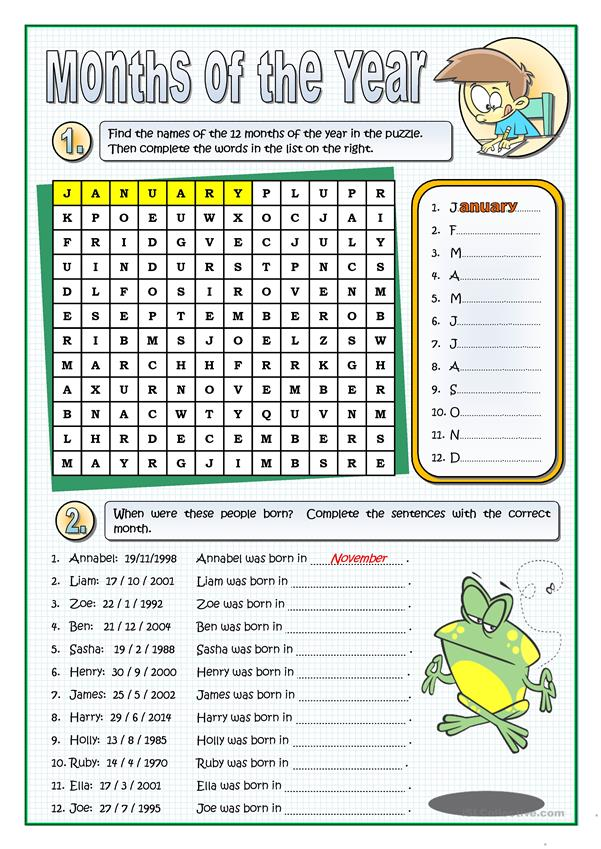 THE MONTHS OF THE YEAR worksheet - Free ESL printable ...