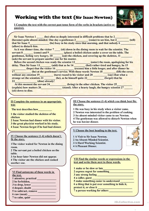 Science Worksheets English : Working with the text sir isaac newton worksheet free