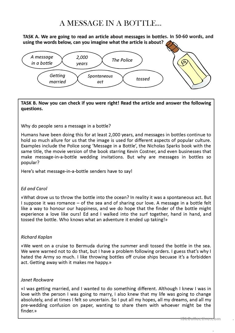 - Comprehension - A Message In A Bottle - English ESL Powerpoints