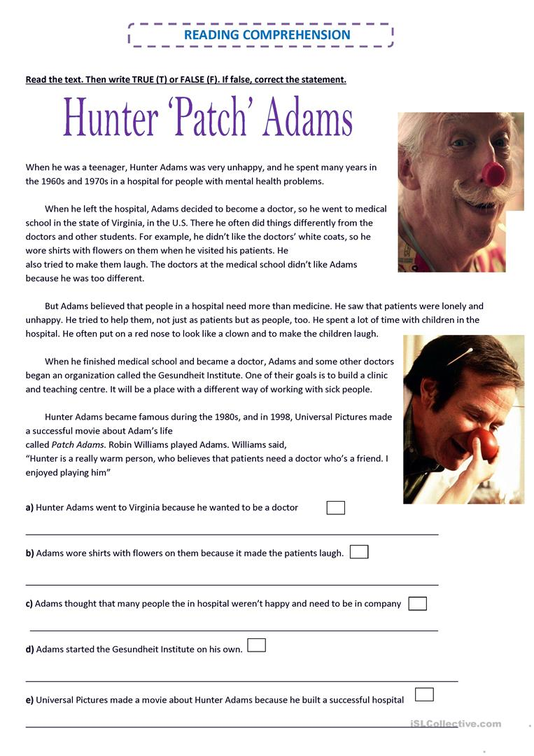 Hunter Patch Adams English Esl Worksheets For Distance Learning And Physical Classrooms