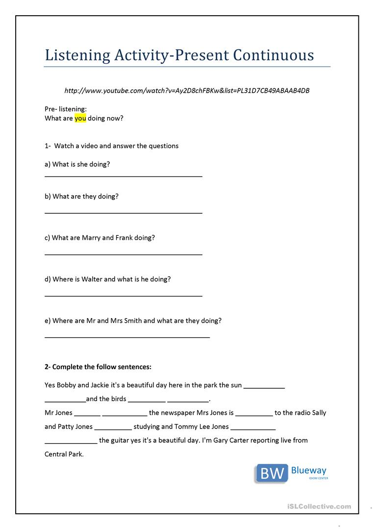 Present Continuous Listening Activity - English ESL Worksheets