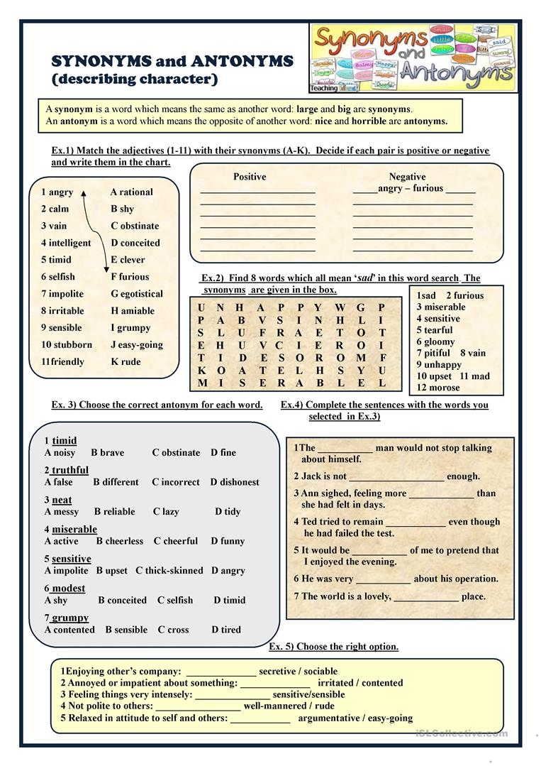 Synonyms And Antonyms Describing Character Worksheet Free Esl