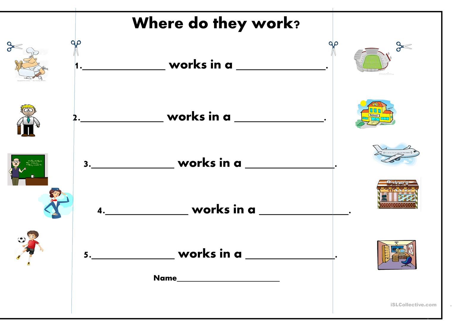 Where do they work? worksheet - Free ESL printable worksheets made ...
