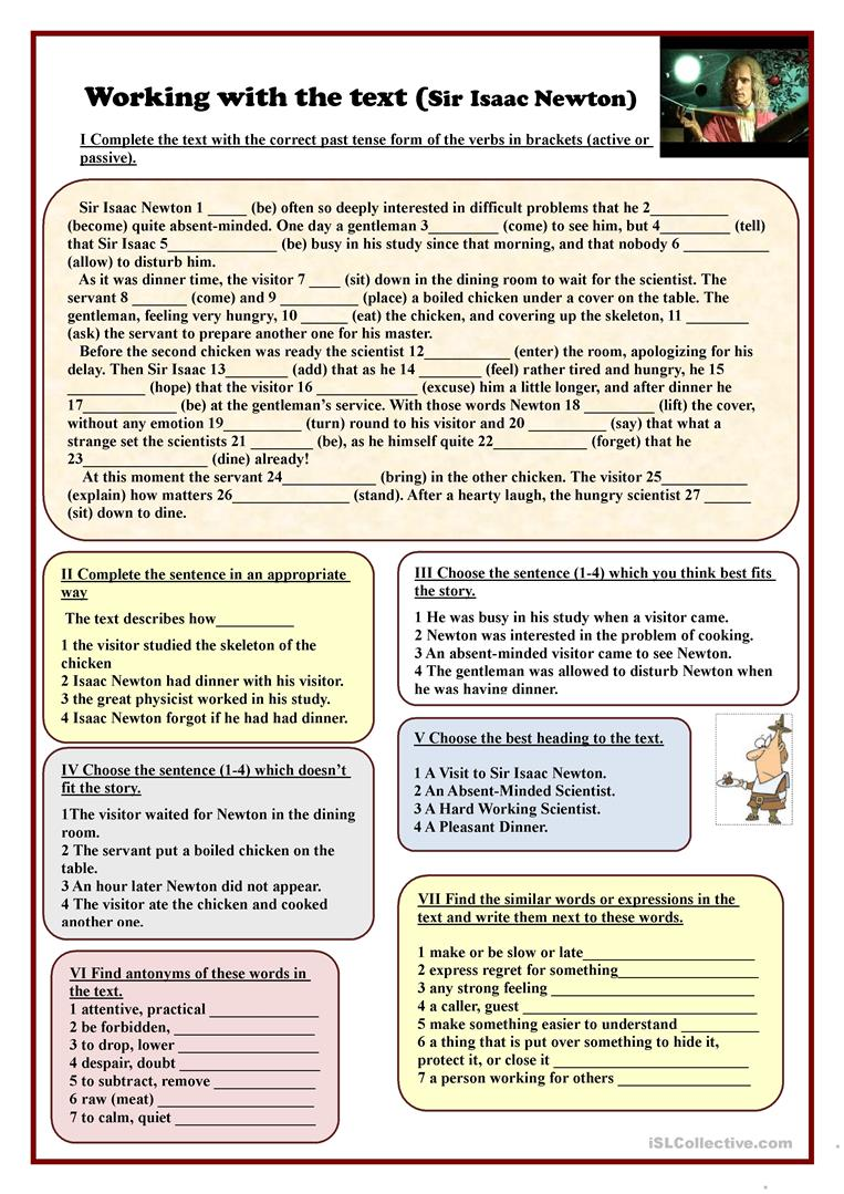 Worksheets Science Reading Comprehension Worksheets 42 free esl science worksheets working with the text sir isaac newton