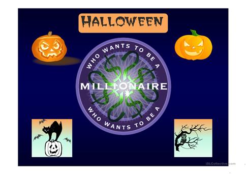Halloween Who Wants To Be A Millionaire Game Worksheet Free Esl