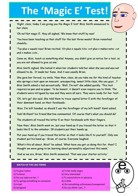 The Magic E Test Worksheet Free Esl Printable Worksheets Made By