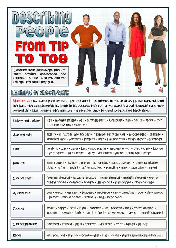 DESCRIBING PEOPLE FROM TIP TO TOE - VOCABULARY
