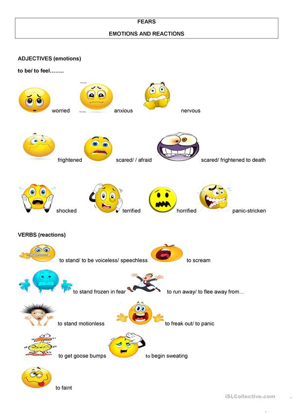 FEARS EMOTIONS AND REACTIONS ILLUSTRATED