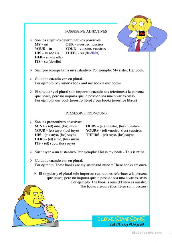I love Simpsons - Pronouns and Adjectives