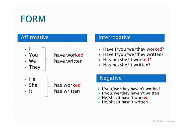 present perfect simple presentation