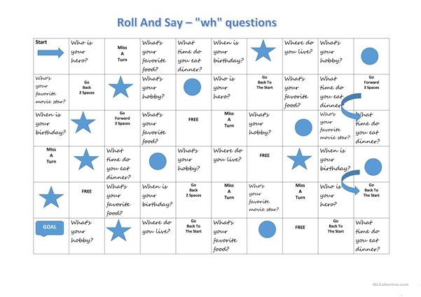 Roll and Say - WH questions