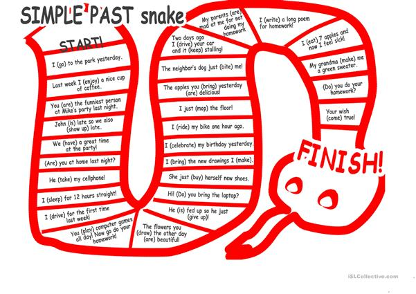 the simple past tense snake