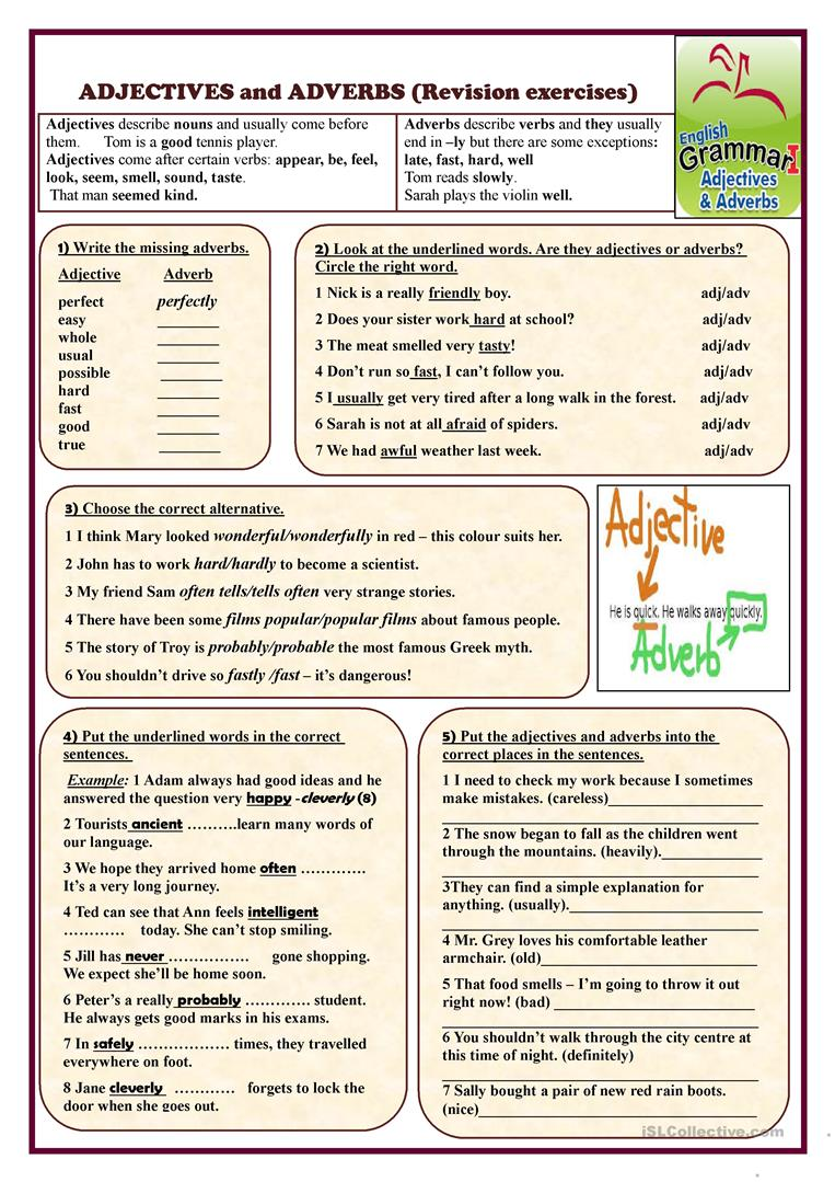 Adjectives and Adverbs (revision exercises) worksheet - Free ESL ...