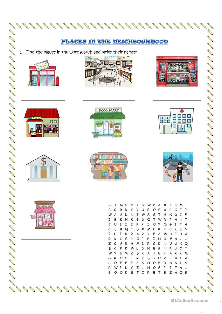 Free  munity Worksheets For Kindergarten Services Picture furthermore  moreover  moreover My Neighborhood   ESL worksheet by sdrmike besides Places in my neighborhood   Interactive worksheet moreover  besides Dónde estamos  puzzle worksheet   Printable Spanish also Places in the neighbourhood worksheet   Free ESL printable in addition English Exercises  My neighborhood also Places  munity Worksheet Pencil And In Color Places Places additionally  besides Places Around Town   All Things Topics as well WORKSHEET ANSWERS also English Exercises  PLACES OF CITY moreover  also Places in the city Interactive worksheets. on places in the neighborhood worksheet