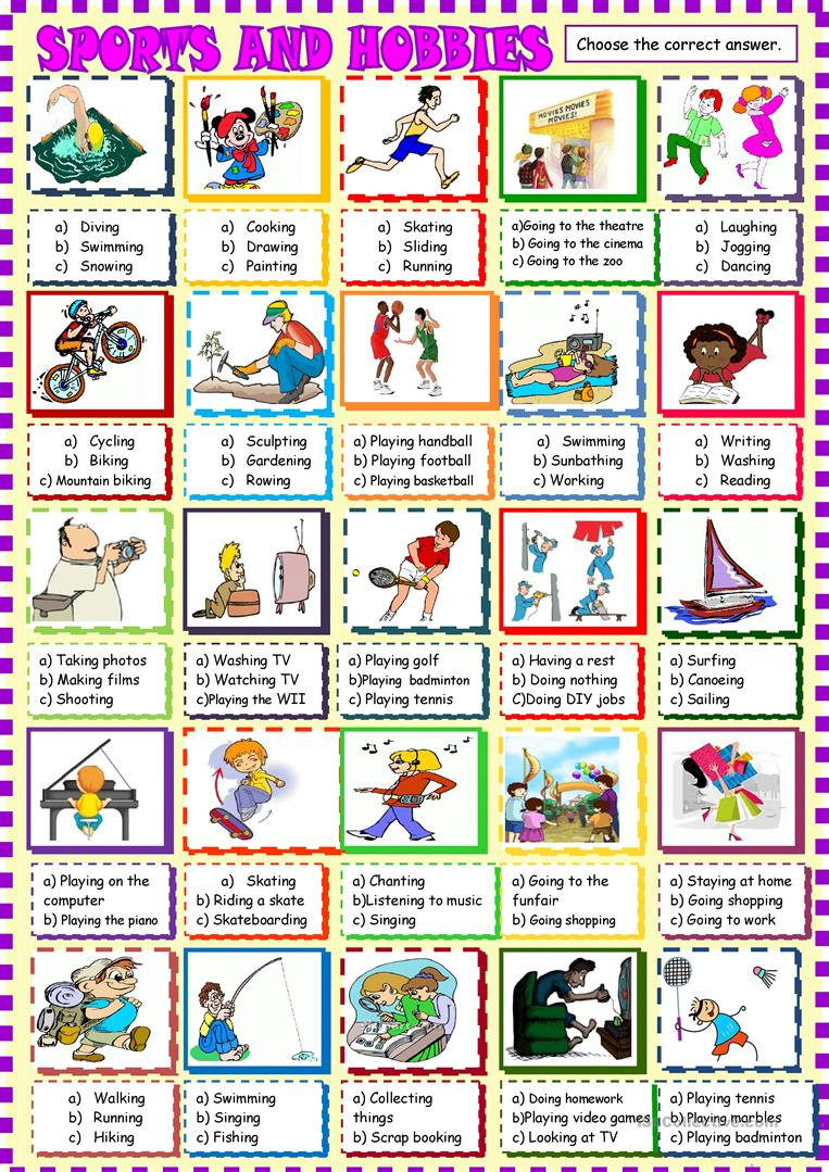 sports and hobbies multiple choice worksheet free esl printable worksheets made by teachers. Black Bedroom Furniture Sets. Home Design Ideas