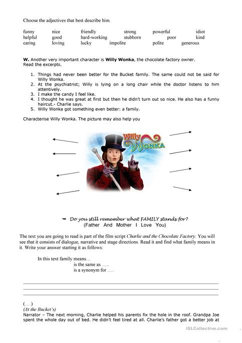 Charlie & The Chocolate Factory 2 worksheet - Free ESL printable ...