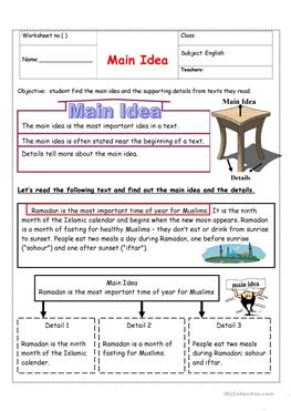 Main Idea of a Story Worksheet | Worksheets, Reading comprehension ...