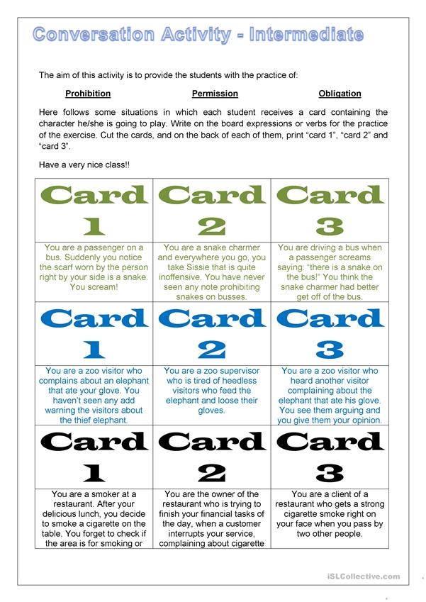 Conversation Drill Cards - Situations