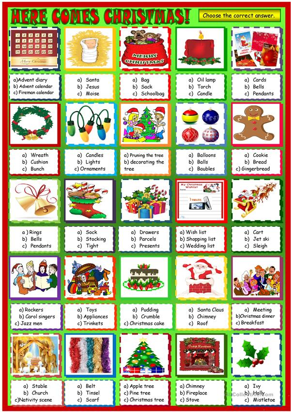 here comes Christmas! multiple choice activity