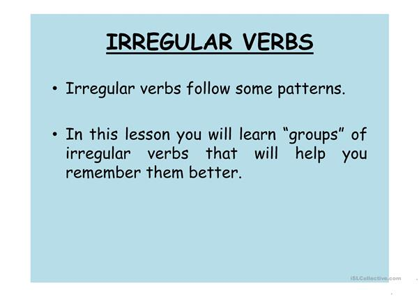 Irregular Verbs - Colourful Groups with Spanish Translation