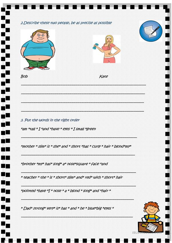 Physical description , 2 page activity