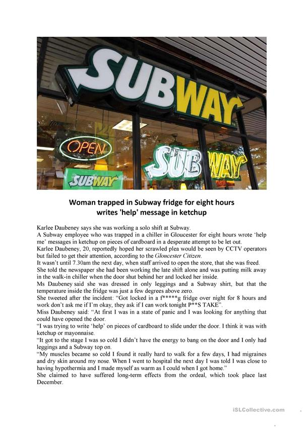READ AND TALK - Trapped in Subway fridge