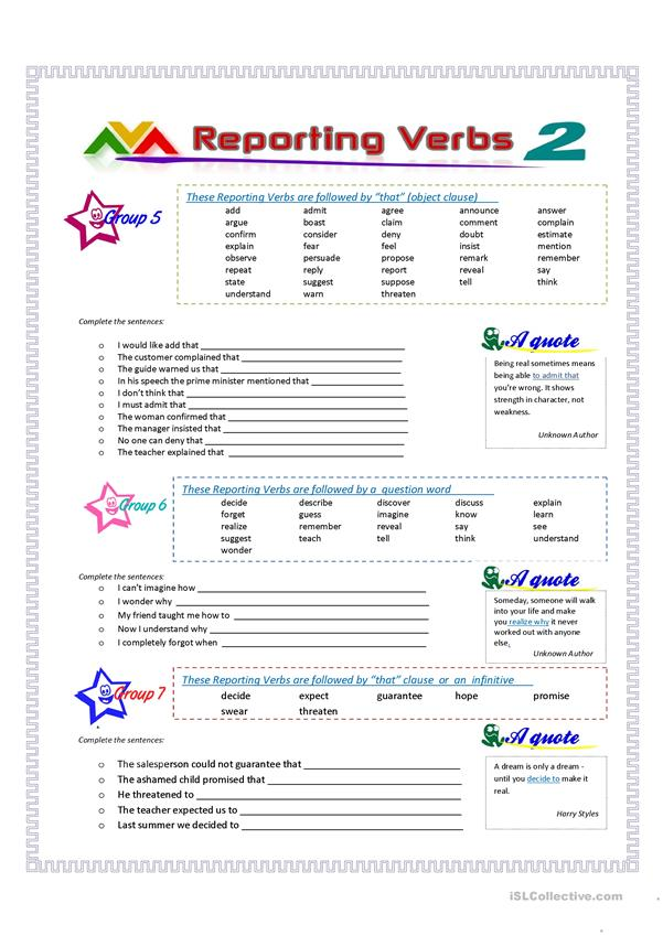 Reporting Verbs - Part 2