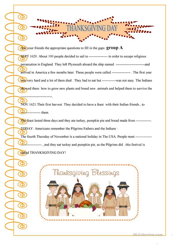 thanksgiving : pair work activity