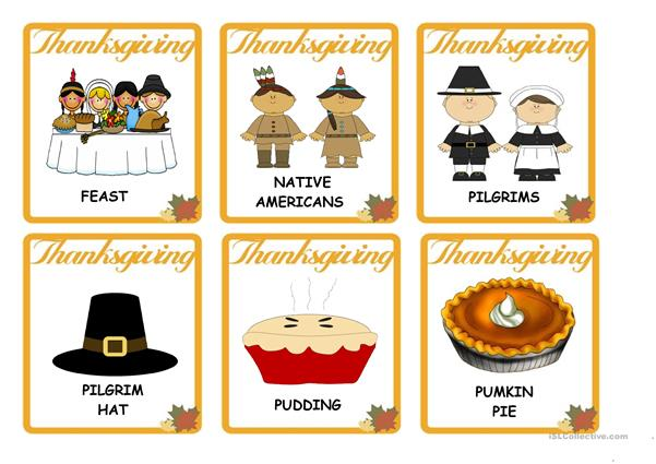 THANKSGIVING - VOCABULARY FLASH CARDS