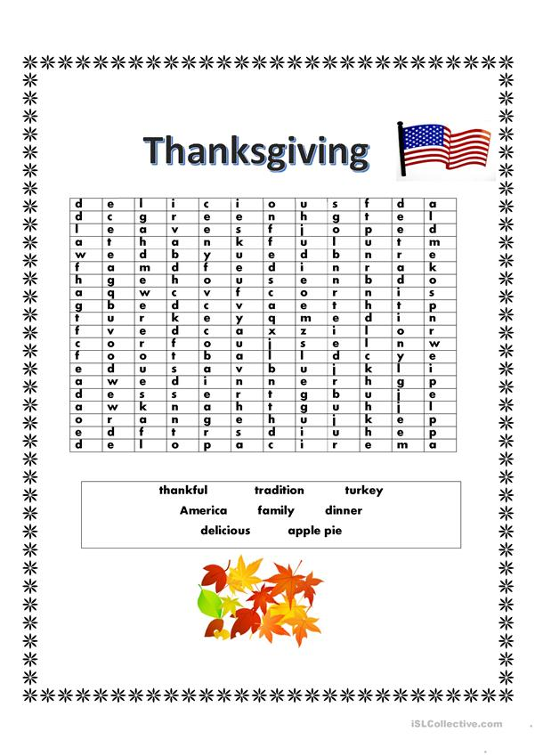Thanksgiving Word Search!