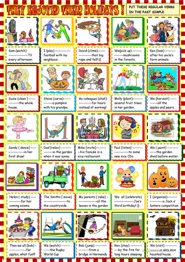 they enjoyed their holidays : past simple regular verbs for beginners