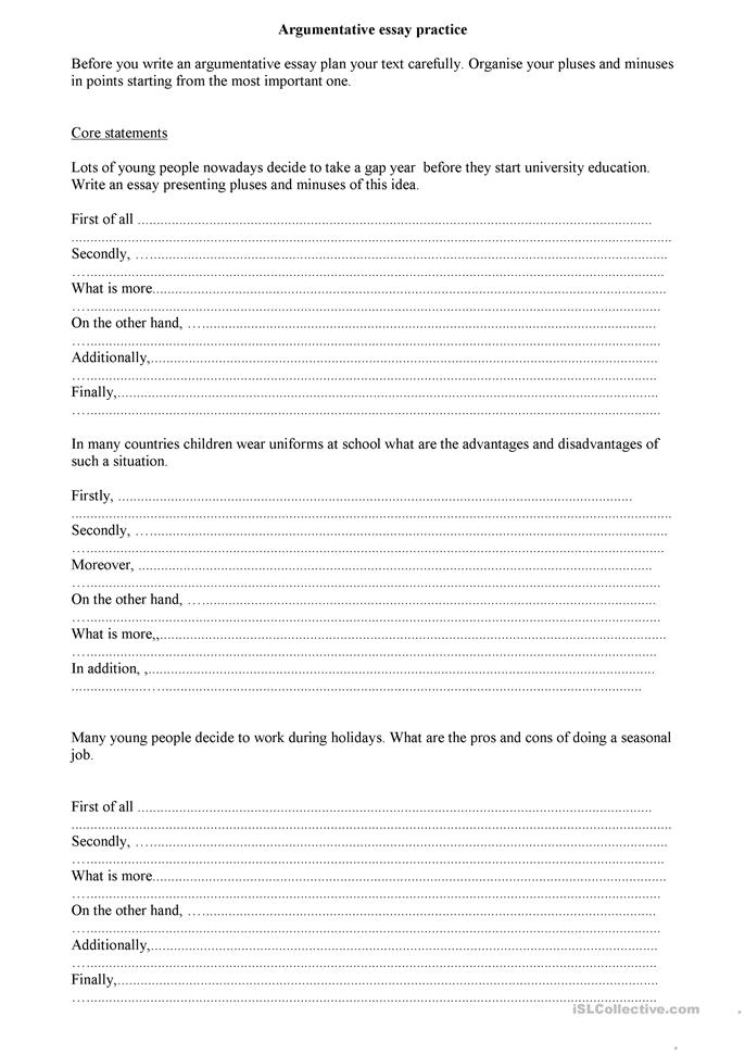 High school essay worksheets