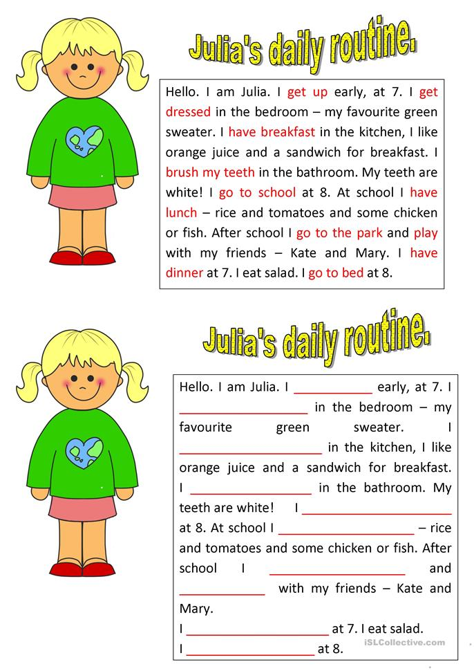 how to write daily routine in english
