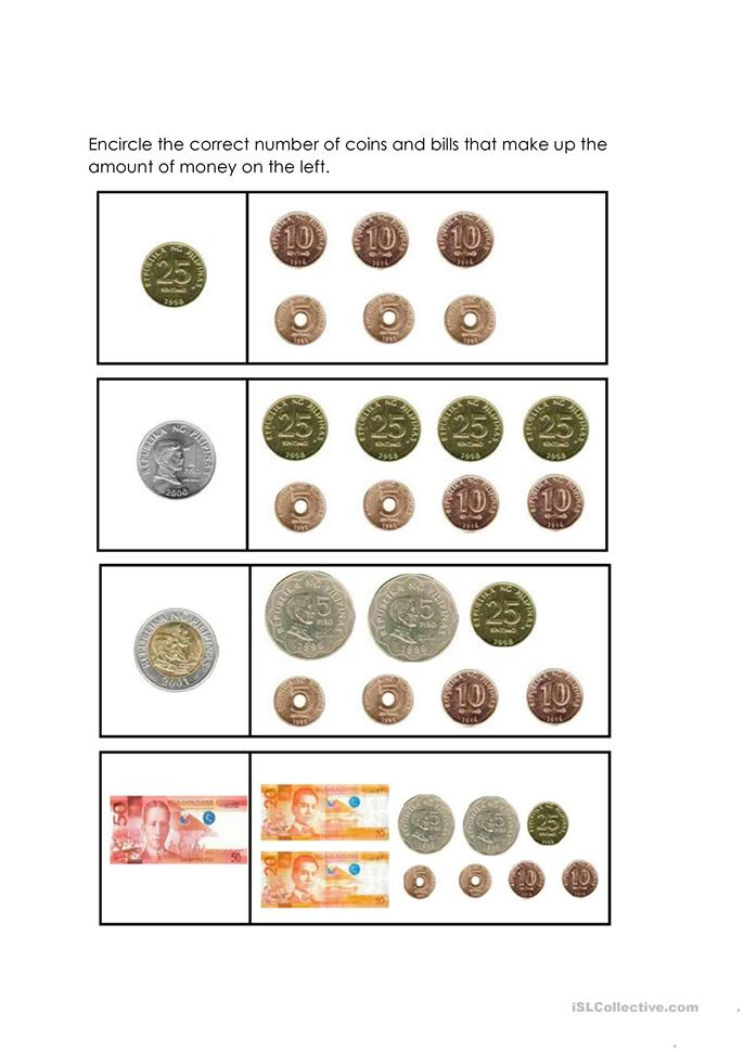 Philippine Coins And Bills Worksheets For Grade 2 Coin